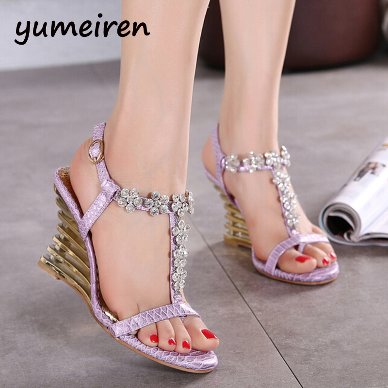 sandals wedge shoes for women summer shoes wedge sandals rhinestone peep Toe sandals heels sandalias mujer purple sandals Y940<br><br>Aliexpress