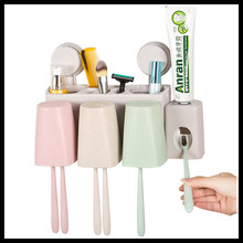 Creative Bathroom Accessories Set Wheat Straw Toothbrush Holder Wall Suction Hooks Shelving Toothpaste Storage Box(China)