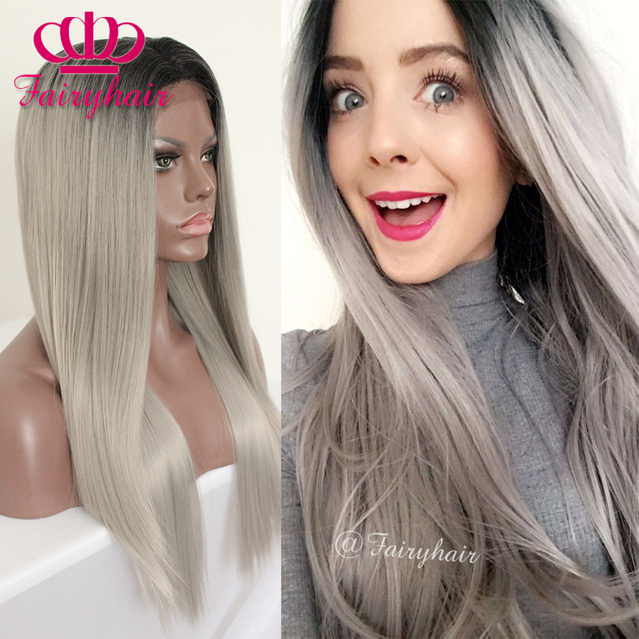 Silky straight ombre lace front wig glueless heat resistant synthetic lace front wig for women straight synthetic hair wigs<br><br>Aliexpress