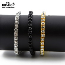 "Iced Out 1 Row Rhinestones Bracelet Men's Hip Hop Style Clear Rhinestone 8"" Bracelet Bling Bling Jewelry"
