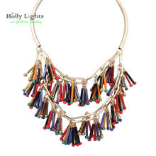 Women gold ethnic choker necklace&pendants bohemia marine blue tassel chockers glass fringe collier femme office jewelry bijoux