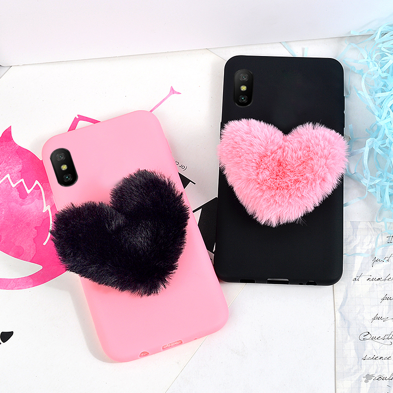 Cute Case For iPhone XS MAX XR Matte Silicone Soft TPU Back Cover For iPhone X 7 8 6 6S Plus Cases 3D Furry Love Hearts Shell