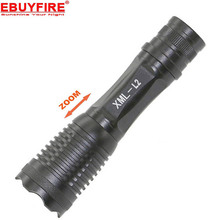 E007 Zoomable 2500LM XML-L2 LED L2 Flashlight Torch 5 Modes 18650 AAA Zoom LED Flash Light(China)