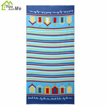 Home Textile Microfiber Soft Bath Towel Stripe House Pattern Beach Towel For Adult Home Travelling 70*150CM