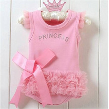 0-24M Baby Girls Kids Pink Bodysuit Princess One-piece Shirt Tops Dress Costume