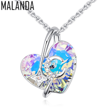 MALANDA Brand Fashion Heart Shaped Necklaces Crystal From Swarovski Stars & Moon Pendant Necklaces Women Jewelry Christmas Gift(China)