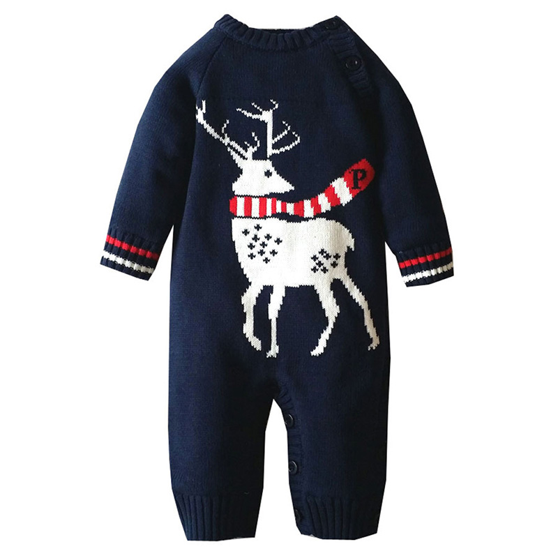 Baby Boys Girls Christmas Style Sweater Reindeer Winter Romper Newborn Clothing  Playsuit New Arrival<br>