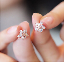 Stud Earring 2016 New Hot Sell Trendy Super Shiny CZ Diamond Ice Flower 925 Sterling Silver Earrings for Women Wholesale Jewelry(China)