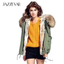 JAZZEVAR Fashion woman army green Large raccoon fur collar hooded coat parkas outwear detachable rabbit fur lining winter jacket(China)