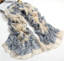 Chiffon Scarf Women Blue And White Slik Scarf Female Designer Brand Ladies Scarves 2017 Shawl Foulard Femme Scarfs Spring Summer
