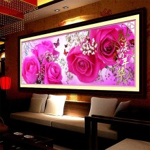 DIY Diamond Embroidery,Round Diamond Purple Rose flowers rhinestone 5D Diamond painting cross stitch,needlework