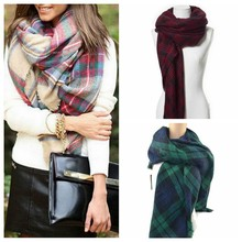Women Ladies Winter Blanket Oversized Tartan Scarf Wrap Shawl Plaid Cozy Checked Pashmina Warm Scarives