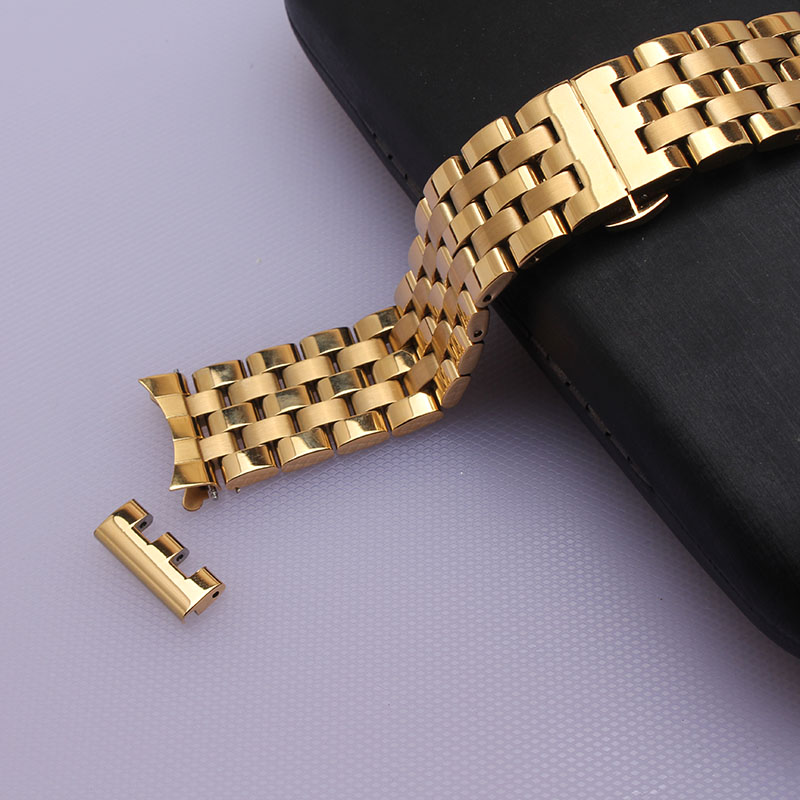 Flexible bracelets fashion straight end and curved end watchbands straps 16mm 18mm 20mm 22mm gold stainless steel solid links <br>