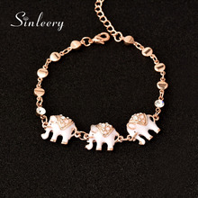 SINLEERY Cute Black & White Enamel Elephant Bracelets Bangle Chain for Women Rose Gold Color Fashion Animal Jewelry SL280(China)
