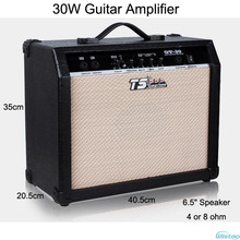 30W Digital Acoustic Guitar Amp Amplifier Speaker 6.5 inches with 3Bands Effects & 2 Simulation Effect Earphone Input Black