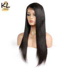 KL Hair Lace Front Human Hair Wigs With Baby Hair Natural Hairline Straight Brazilian Remy Hair Lace Wigs For Black Women(China)