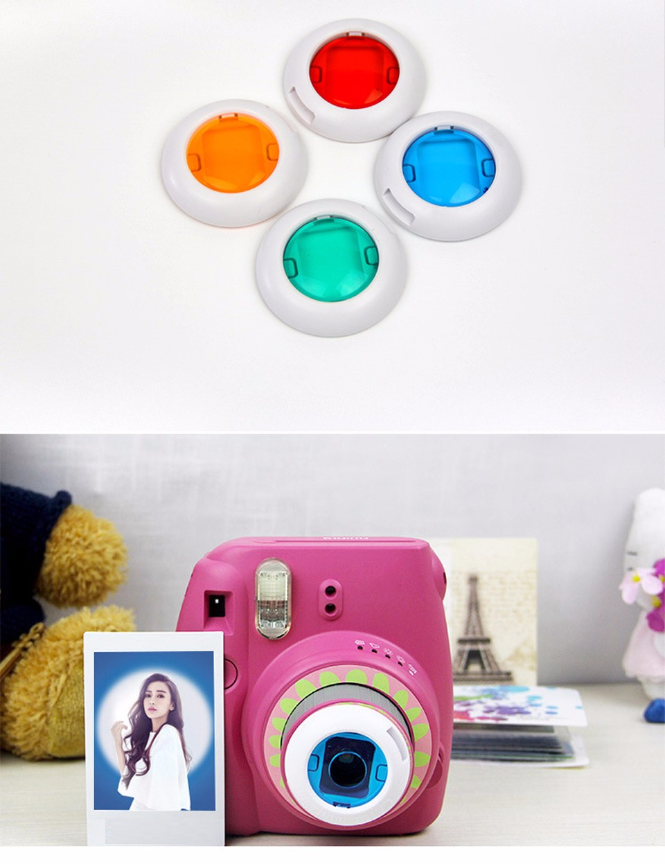 6 In 1 Colorful Filter For Fujifilm Instax Mini 8 7S Magic Lens Set Round Square Heart Shaped Instant Film Camera Accessories 7