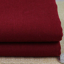 Wholesale burgundy fabric for dress warp skirt trousers zakka linen material sewing tissu solid cotton linen fabric meter