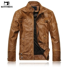 Kenntrice Spring Autumn Brand Leather Jacket Men Slim Short Stand Collar Jaqueta Couro Bomber Jacket Faux Leather Fur Coat Suede(China)