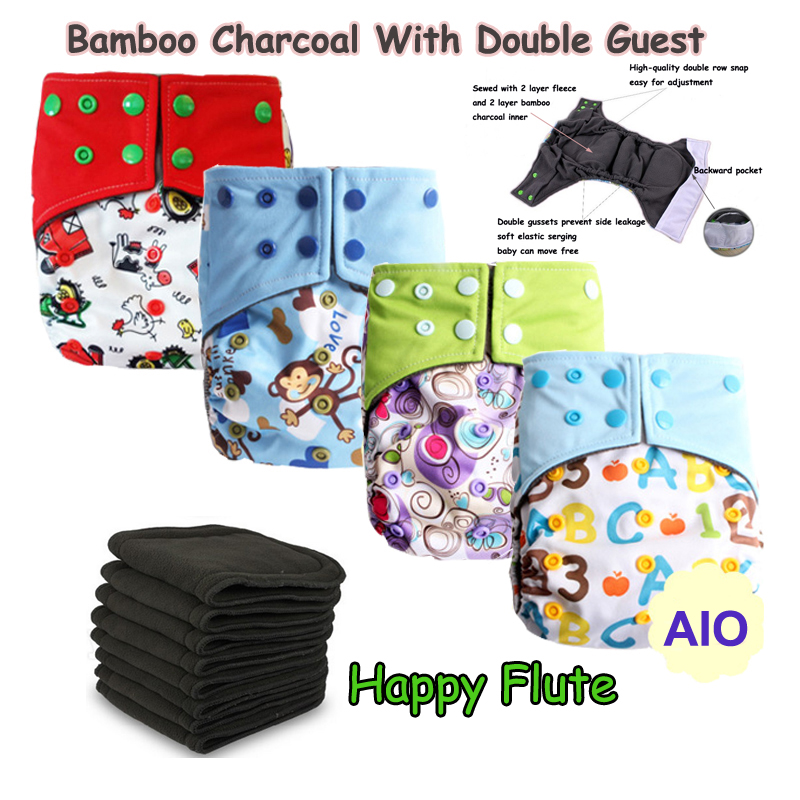 Baby Diapers Double Guest Charcoal Bamboo Night Sleepy Two Pockets Diaper Reusable Cloth Diapers With Sewn Insert Layer cover<br>