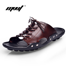 Buy summer tide mens slippers British fashion men sandals genuine cow leather lazy beach sandals flip flops men summer shoes for $14.88 in AliExpress store