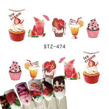 1 Sheets Nail Art Stickers Pink Cake Sweet Fruits Dessert Water Decals DIY Design Beauty Stickers Nail Decorations Tips TRSTZ474(China)