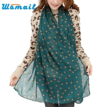 2017 New Stylish Girl Long Soft Silk Chiffon Scarf Wrap Polka Dot Shawl Scarve For Women Hot DropshipAp14
