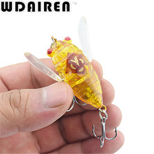 1Pcs 4cm 6g Fishing Lures Wobbler Flying Lure Artificial Hard bait Grasshopper Insects Sea Fishing Jig Hooks Tackle NR-404