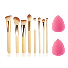 Pro 8Pcs/set Bamboo Handle Makeup Brushes Set With 2 Sponge Blender Puff kits Powder Multifunction Brushes Beauty Makeup Tools(China)