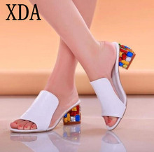 XDA Rhinestone Peep Toe Heels Women Sandals Shoes Sexy Open Toe Wedge Slides Shoes Women High Heels Sandals Platform Flip flops