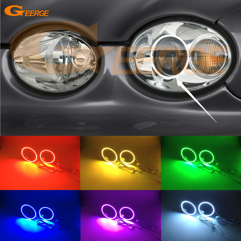 For JAGUAR X-Type 2002-2008 Headlight Excellent Angel Eyes Multi-Color Ultra bright RGB LED Angel Eyes kit<br>