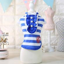 Fashion dogs cats strip vest clothes doggy summer shirts clothing puppy vests costume pet dog cat suit 1pcs XS S M L XL