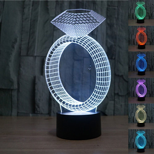 Diamond Ring Pattern Creative 3D LED Touch Night Light Lamp 7 Colors-Changing Desk Lamp LED Table Chileren Decorative Night Ligh<br><br>Aliexpress