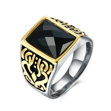 Top Quality and Vintage Stainless Steel Male Ring Design Setting Black Square Glass Gold Fringe Bijoux Anel Masculino Jewelry