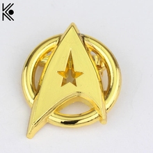 Gold color USS Enterprise Symbol Brooches Pins Star Trek Into Darkness Logo Badge  High Quality lapel Pin Men Women Star Trek