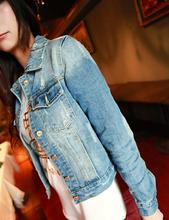 2017 basic Outerwear women's jacket coats with the size of long-sleeved lapel short denim jacket denim ladies jacket   8836