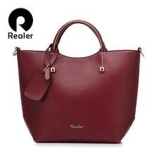 REALER brand handbag women large bucket shoulder bag female high quality  artificial leather tote bag fashion c614636e81