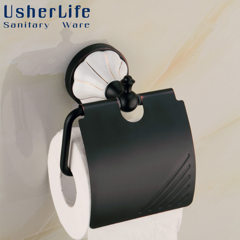 Usherlife  Antique ORB Brass Toilet Paper Holder Black Roll Paper Tissue Box Water-proof Bathroom Accessories<br>