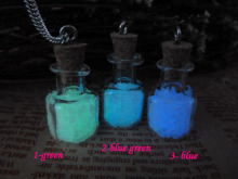 Steampunk bottle necklace Magic Fire Fairy Angel dust pendant charm Glow in the dark bottle ZJ018