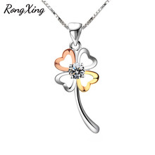 RongXing Vintage Fashion Silver/Rose Gold Four Clovers Pendant Necklaces For Women 925 Sterling Silver Filled Jewelry Gift HP062(China)