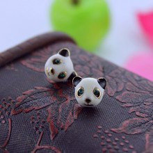 Fashion stud earrings 2014 Fashion new pure and fresh quietly elegant simplicity and lovely panda earrings 803 series(China)