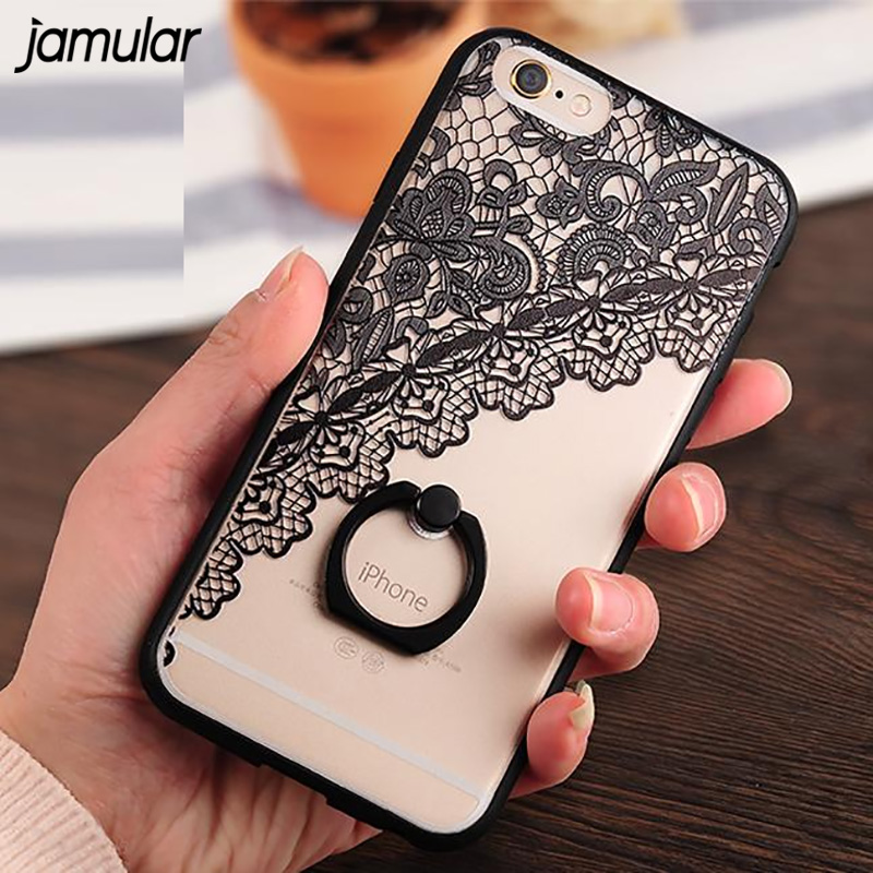 JAMULAR Black Lace floral Pattern Phone Case iPhone 8 7 6 6s Plus Hard Back Cover Case Rose Ring Phone Skin Fundas