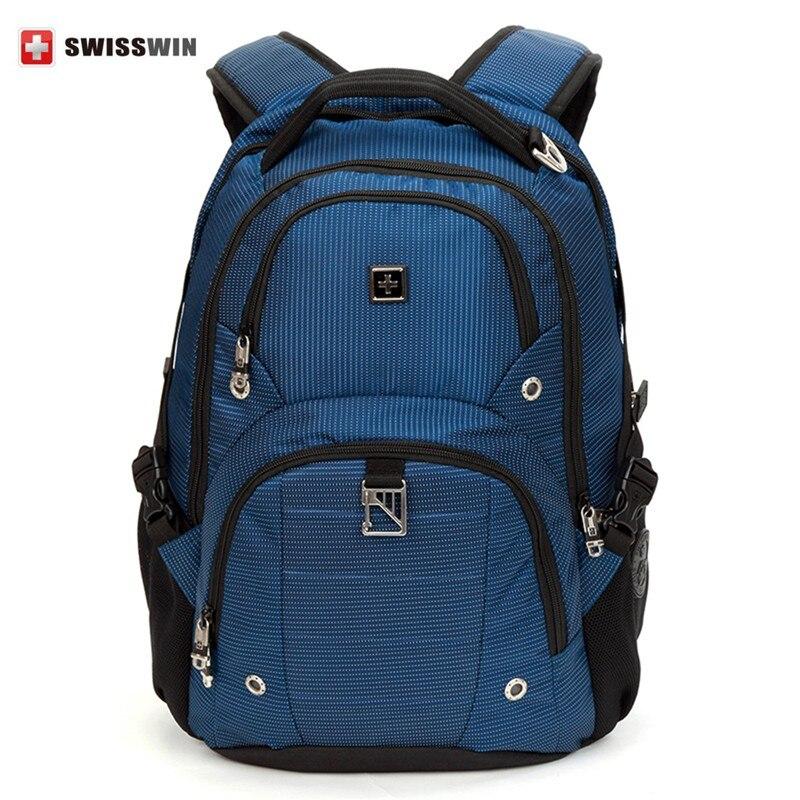 Swisswin Fashion Backpack Laptop Bag 15.6 sw9217n Multi-Pocket Backpack School Bag High Quality Computer Backpack Blue Bag<br><br>Aliexpress