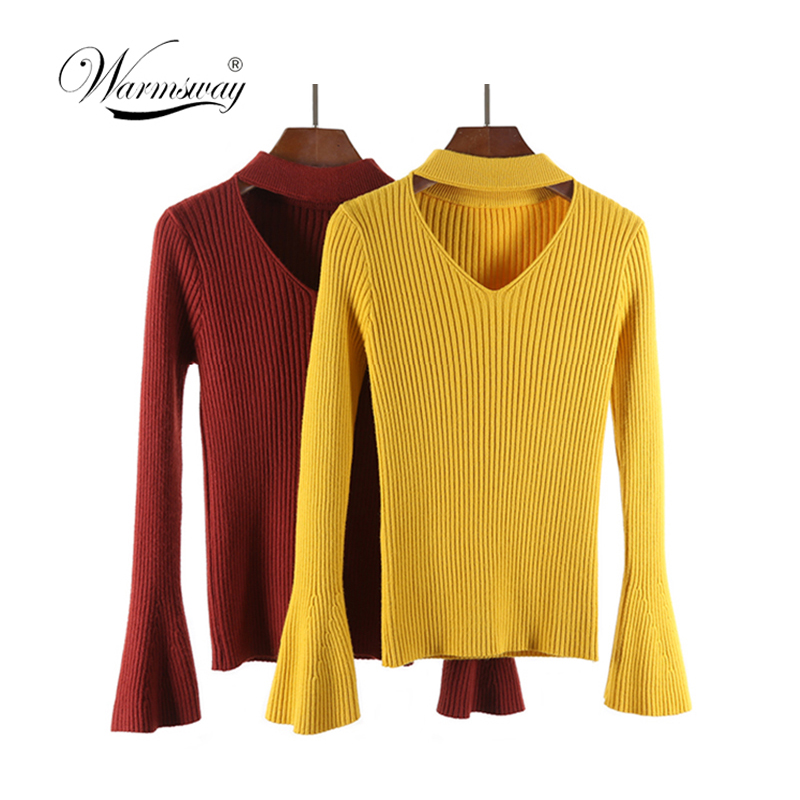 Warmsway V-Neck Autumn Winter Pullover and Sweater Women Knitted Long Sleeves Sweater Thick Warm Femme Jumper C-315