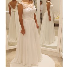 2016 new arrival beautiful a-line o-neck backless white wedding dress bridal gown(China)
