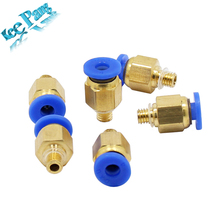 10pcs PC4-M5 Pneumatic Straight Connector 3D Printer Parts Brass For Hotend Extruder PTFE tube OD 4mm Quick M5 Air Fittings Part