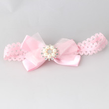 Newborn Child Hair Accessories Headbands Infant Sun Flower Stretch Lace Bowknot with Pearl Headbands Baby Girls Turban Hair band