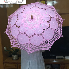 Buy Hot sale! Lace Parasol Sun Umbrella Ribbon Parasol Umbrella Wedding Bridal Umbrella Parasols Wedding Decoration for $16.69 in AliExpress store