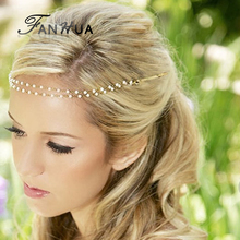 New Wedding Hair Jewelry Designer Simulated Pearl Chain Barrette Clip Headbands Boho Hair Accessories Hairwear For Women