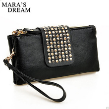 Mara's Dream Women Clutch Bag Fashion Rivet Large Capacity Leather Wallet Purse Party Evening Handbags Phone Bag Bolsa Feminina